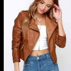 Black Swan Leather Moto Jacket